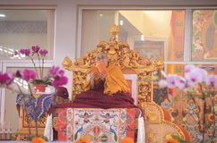 神圣达赖・喇嘛在Bodhgaya,印度 免版税库存图片