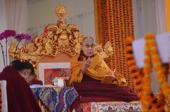 神圣达赖・喇嘛在Bodhgaya,印度 库存图片