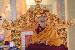 神圣达赖・喇嘛在Bodhgaya,印度 免版税库存照片