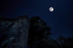 神奇中世纪城堡在满月夜阿塞拜疆 免版税库存图片