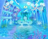 神奇和幻想海里的世界 水下的城堡Interio 皇族释放例证