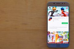 神奇的在智能手机屏幕上的瓢虫&猫努瓦尔dev应用 免版税库存照片