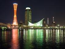神户晚上端口场面 库存照片