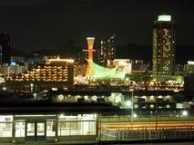 神户港口夜全景 免版税图库摄影