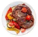 神户牛肉与菜的ribeye牛排 免版税库存图片