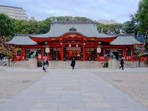 神户,日本美丽的生田神社  免版税库存图片