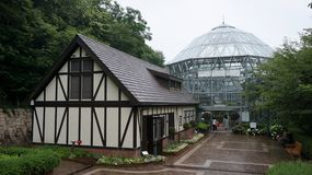 神户Nunobiki药草园的玻璃温室 库存图片