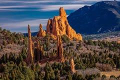 神的2017 3月8日,庭院, COLOARDO反弹, CO,美国-一种全国自然地标特点水成岩形成 免版税库存图片