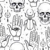 神秘主义者,魔术,背景 宗教和秘密主义与esote 向量例证