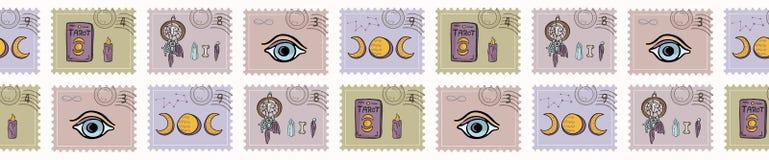 神秘的不可思议的邮票 手拉的无缝的传染媒介边界 精神标志 向量例证