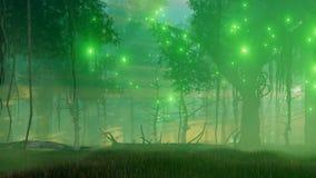 神秘的光在蠕动的夜森林4K里 皇族释放例证