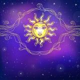 神秘的图画:与一个人面,透雕细工小插图的太阳 库存例证