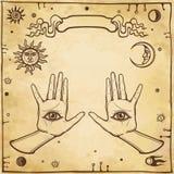 神秘的图画:人的手有无所不知眼睛 向量例证