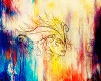 神秘的妇女面孔和头饰带 在纸,颜色作用的铅笔图 库存照片