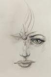 神秘的妇女面孔 在纸张的铅笔图 向量例证