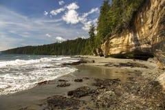 神秘的海滩江边胡安・德富卡海洋供徒步旅行的小道太平洋西北地区温哥华岛加拿大 免版税库存图片