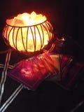 神秘的火水晶笼子灯 库存图片