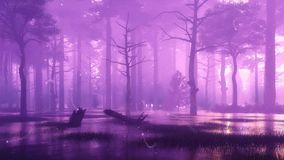 神秘的萤火虫光在沼泽的夜森林4K里 库存例证
