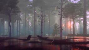 神秘的萤火虫光在黑暗的沼泽的夜森林4K里 库存例证
