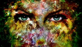 神秘的蓝眼睛由绘制成五颜六色飞溅 库存照片