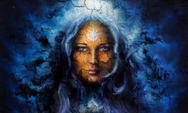 神秘的面孔妇女,有结构爆裂声背景影响的,与星对前额,拼贴画 目光接触 皇族释放例证