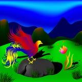 神秘的鸟和美丽的花在山的一个美丽的草甸 免版税库存图片
