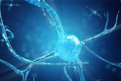 神经元细胞的概念性例证与发光的链接结的 送电子化学制品的突触和神经元细胞 库存图片