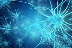 神经元细胞的概念性例证与发光的链接结的 送电子化学制品的突触和神经元细胞 免版税库存照片
