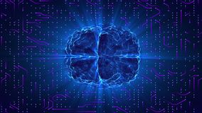 神经系统的表面或电子指挥上架线的蓝色发光的脑子 人工智能AI和高科技概念 向量例证