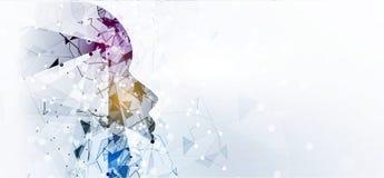 神经网络概念 与链接的被连接的细胞 高technol 免版税库存图片