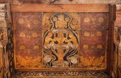 神话英雄绘画神圣的牙,联合国科教文组织遗产站点16世纪寺庙的天花板的  库存照片