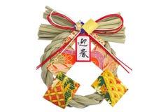 神道的信徒的秸杆花彩装饰的新年度在日本 免版税库存图片
