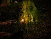 神仙的村庄在森林里 免版税库存照片
