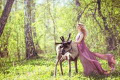 神仙的礼服的女孩有在礼服和驯鹿的一列流动的火车的 免版税库存图片