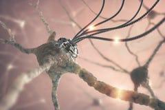 神经系统的纳米技术 库存照片