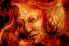 神仙的自然妇女画象有莲花的 免版税图库摄影