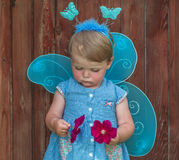 神仙的衣服的小女孩在手上渴望与猩红色小花 库存图片