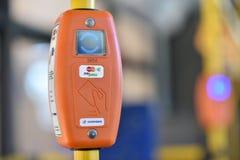 票在圣彼德堡无轨电车的自动售货机 库存照片