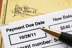 票据支付时间的看板卡赊帐 库存图片