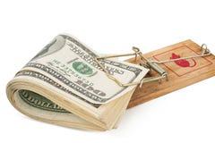 票据美元有选择性重点一百的捕鼠器 免版税库存图片