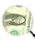 票据美元玻璃扩大化 免版税库存图片