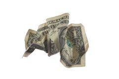 票据被弄皱的美元 图库摄影