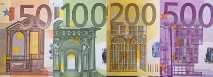 票据详细资料欧元纸张 免版税库存照片