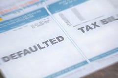 票据迷离被默认的税务 免版税库存图片