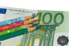 票据颜色欧元四支铅笔 库存图片