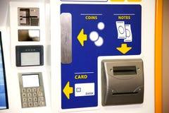 票销售业绩卡片银行机器作为没有人的一个付款系统 图库摄影