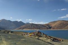 祷告在山湖附近下垂 图库摄影