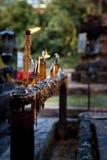 祷告蜡烛在泰国 免版税库存照片