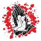 祷告,祈祷忠实的图表传染媒介的基督徒 皇族释放例证