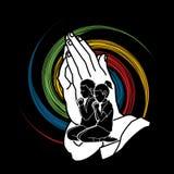 祷告,祈祷忠实的图表传染媒介的基督徒 向量例证